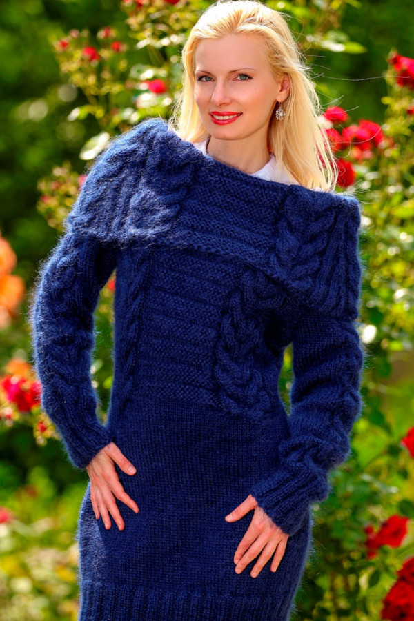 dress supertanya blue hand made knit mohair cable sweater cowl neck soft fluffy fluffy angora wool cashmere alpaca