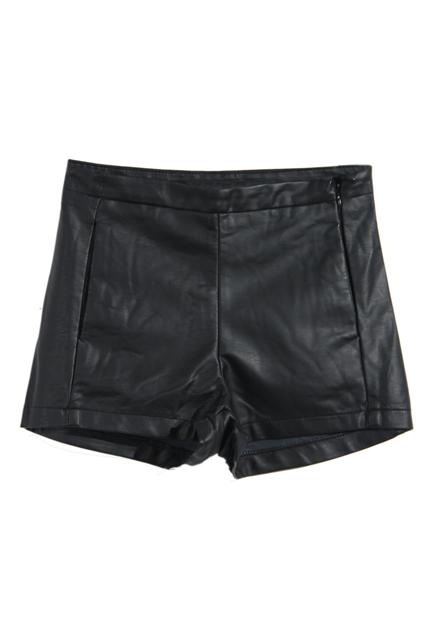 ROMWE   Black Fake Leather Shorts, The Latest Street Fashion