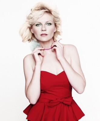 kirsten dunst red dress strapless dress dress