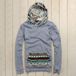 Splicing Ethnic Style Pattern Pocket Design Long Sleeve Hoodie For Men (BLUE,XL) China Wholesale - Sammydress.com ($1-20) - Svpply