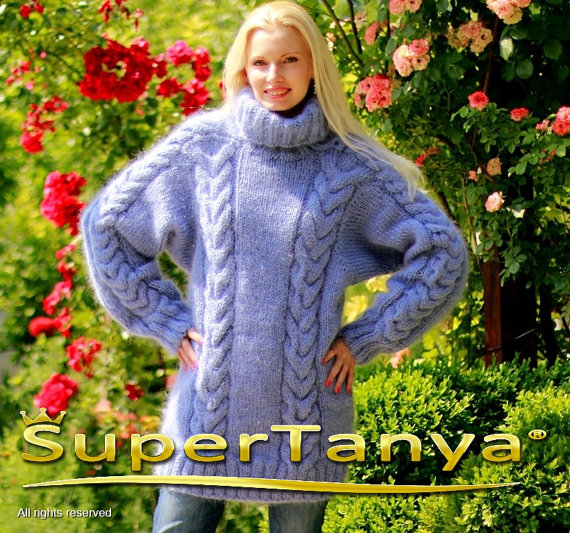 Thick hand knitted turtleneck mohair sweater with by supertanya