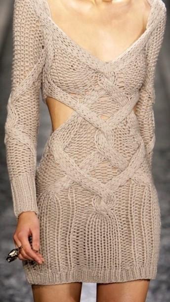 dress knitwear beige dress knitted dress