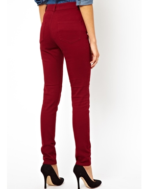 ASOS | ASOS High Waist Trousers in Cotton Twill at ASOS