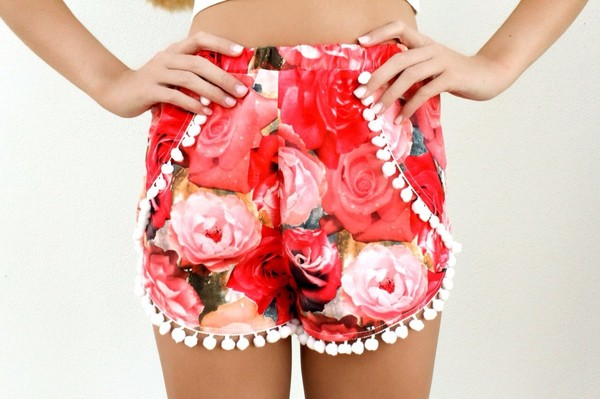 shorts pink rose red High waisted shorts floral flowered shorts pom poms pom pom shorts pompom shorts