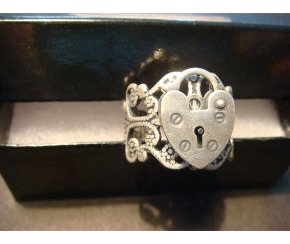 Heart Lock Ring Antique Silver - Rings   RebelsMarket