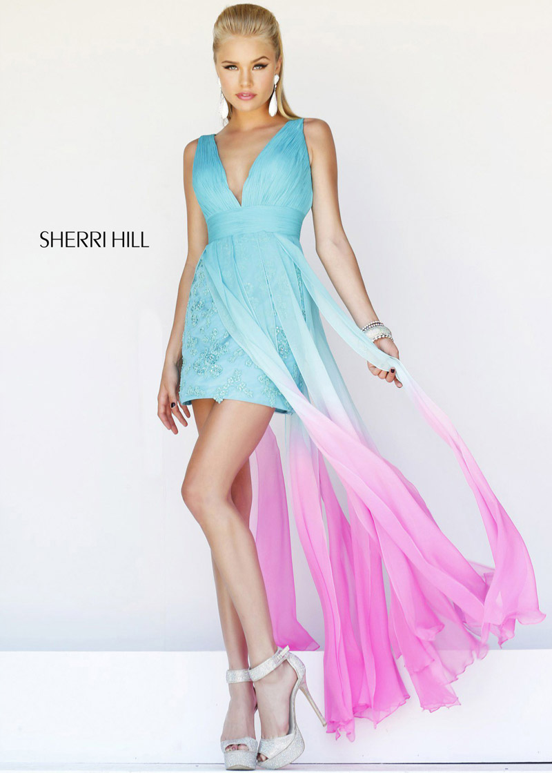 La Femme 18896 Sherbert V-Neck Long Dress [La Femme 18896] - $175.50 : Shop Cheap Prom/Homecoming Dress 2014 on Darlingprom
