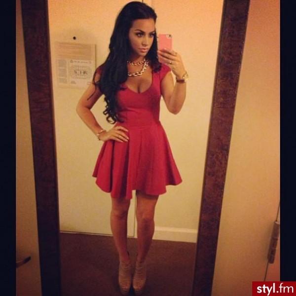 hat red dress skater dress dress