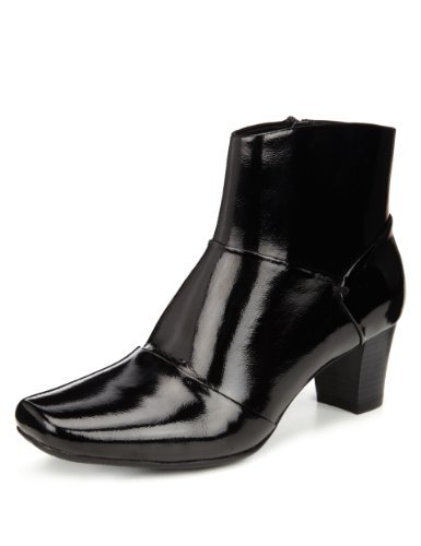 M&S Collection Leather Panelled Ankle Boots with Insolia® - Marks & Spencer