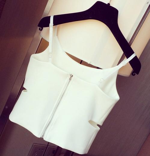 Camisole Zipper Crop Top - Juicy Wardrobe