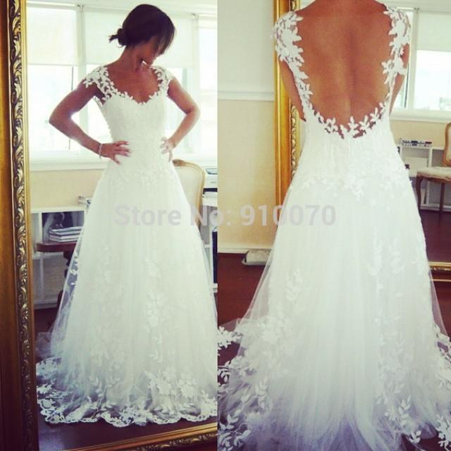 Buy 2015 custom made vestidos cap sleeve for Wedding dress appliques suppliers