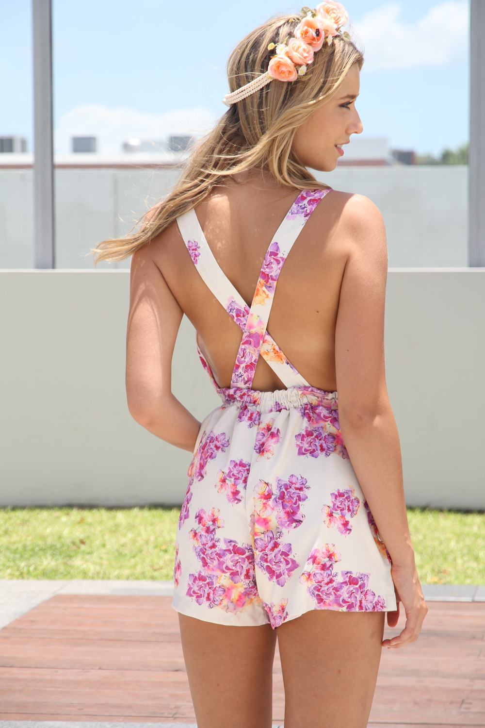 Multi Jump Suits/Rompers - Floral Print Sleeveless Playsuit with   UsTrendy