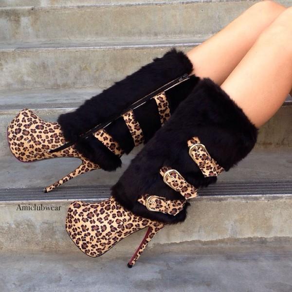 shoes leopard print boots high heels boots