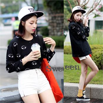 Chic Women Print Eye Shirt Base T Shirt Blouse Tops Sweater Pullover Sweatshirt | eBay
