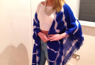 jacket blue kimono cape jewels white top crop jeans outfit summer style fashion ootd blonde hair girl zara topshop urban outfitters primark cardigan shirt women jewelry