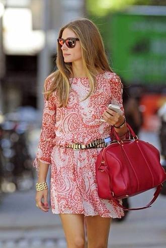 bag pink dark dress olivia palermo