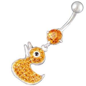 "Amazon.com: Cute Dangling Belly Button Rings Pierce Bars Little Duck Dangly Navel Barbell Piercing Jewelry 14Gauge (1.6mm), 3/8"" Inch (10mm) Topaz Swarovski Ferido Crystal AFEP: Body Piercing Rings: Jewelry"