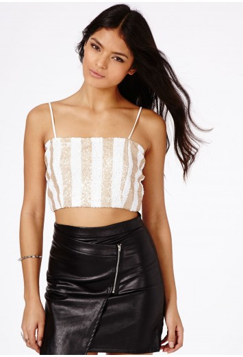 Lusia Sequin Contrast Striped Top - Tops - Bralets and Crop Tops - Missguided