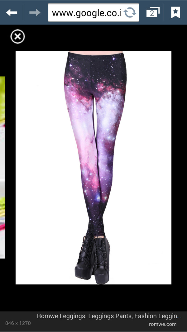 pants pink purple galaxy print leggings