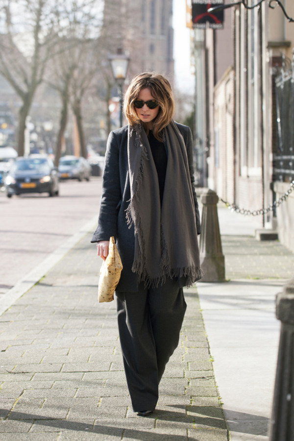 fash n chips coat sweater pants scarf bag sunglasses