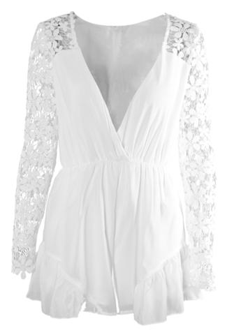 Raw Glitter | Cute White Lace Long Sleeved Mini Playsuit Romper | RawGlitter.com