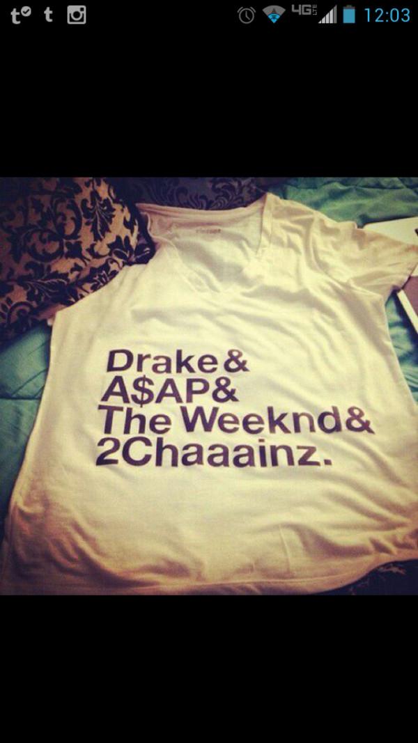 shirt white drake a$ap hip hop