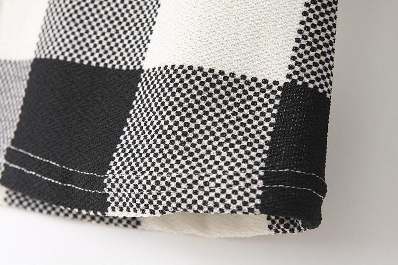 Black White Plaid Long Sleeve T-Shirt - Sheinside.com