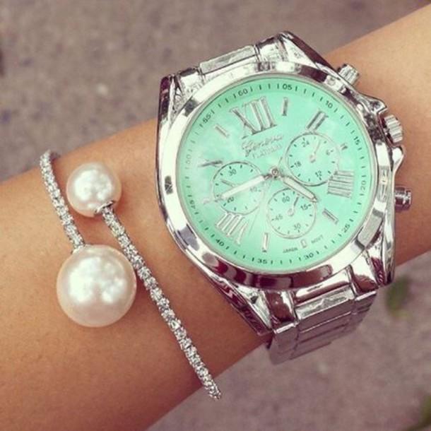 jewels mint pearl bracelets watch