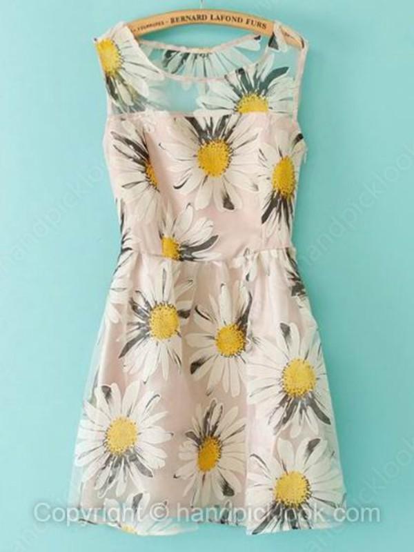 floral dress sleeveless dress daisy