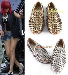 Ladies Women Silver Gold Loafers Shoes Flat Spike Punk Studded Point Rivets | eBay