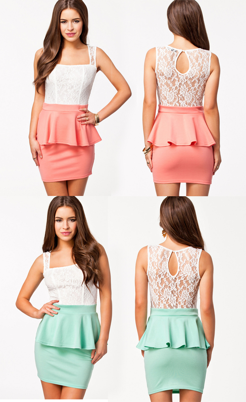 Mint Green/Coral Lace Party Princess Sexy Peplum Dress C21270 Spring 2014 new hot  women  summer casual ruffles dress-in Dresses from Apparel & Accessories on Aliexpress.com