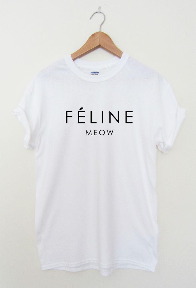 Feline Meow Hipster T Shirt Cara Tumblr Dope Swag Top Men Ladies Women | eBay