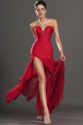Red Sweetheart Floor Length Chiffon Sheath Column Prom Dress With Pleating Oet0180