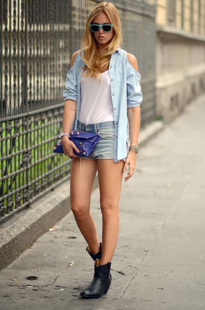 open shoulder denim jacket shirt studded chiara ferragni the blonde salad