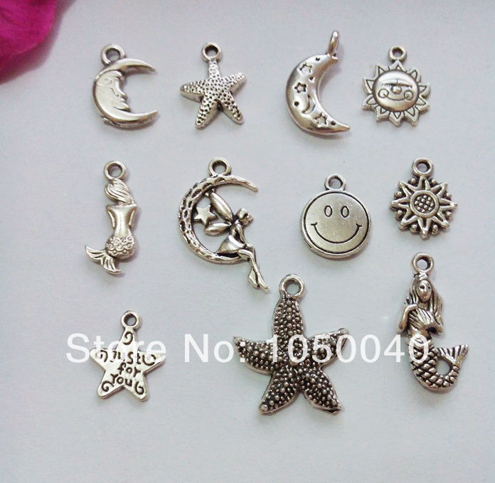 110pcs Mixed Tibetan Silver Tone Crafts Star Moon Starfish Mermaid Charm Fashion Pendant Jewelry DIY Jewelry Findings 11styles-in Charms from Jewelry on Aliexpress.com
