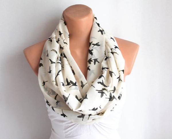 scarf birds white cream