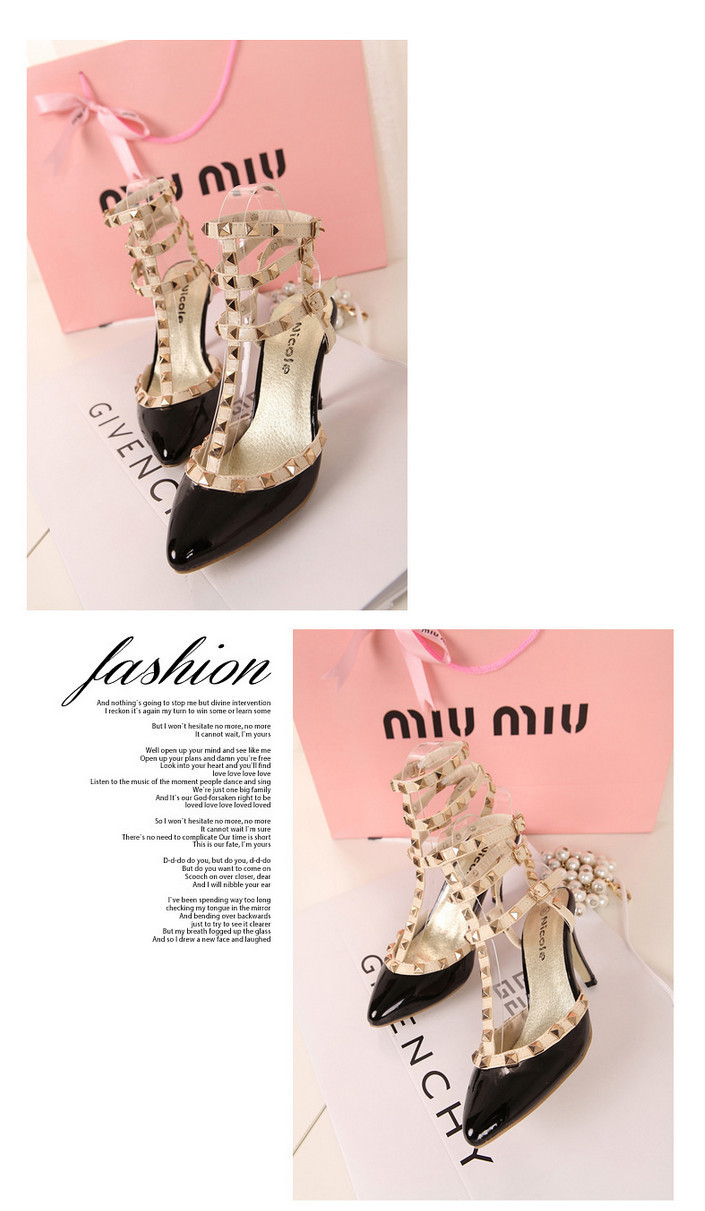 Hot 2013  women sexy pointed toe pumps fashion spiked studded buckle stiletto high heels ladies high heel sandals shoes-inPumps from Shoes on Aliexpress.com