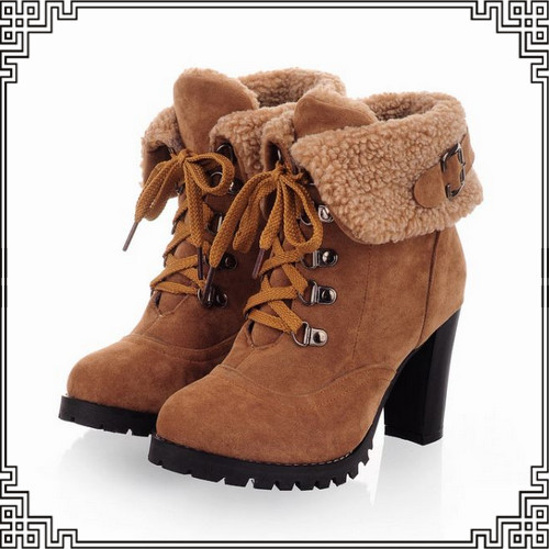 Big size 34 43 Sexy Ankle Boots Vintage High Heels Platform Snow Boots for Women Warm Lamb Fur Casual Dress Buckle Winter Shoes-in Boots from Shoes on Aliexpress.com