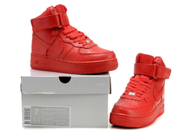 £70.00 New Pure Red Nike Air Force One High Running Shoe For Women Shoes [NKA1240] : www.webshopingstore.com Online Sports Shop