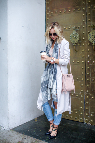 late afternoon blogger scarf trench coat fringed bag pink bag sunglasses ripped jeans