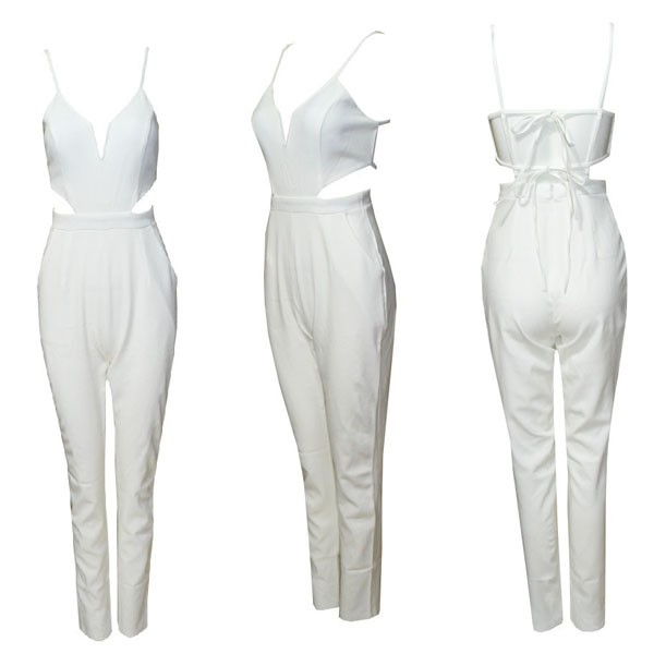 feclothing                  - Fashion sexy V-neck cut out piece pants. Jumpsuits