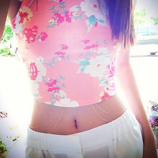 blouse floral crop tank body chain jewels