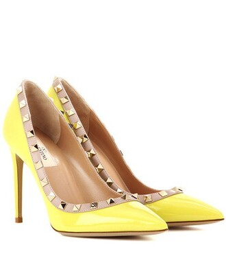 pumps leather yellow shoes