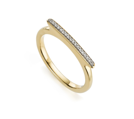 Diamond Pave Skinny Short Ring in 18ct Gold Plated Vermeil on Sterling Silver with Diamond | Jewellery by Monica Vinader