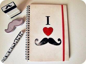 notebook pencils moustache hipster wishlist desk