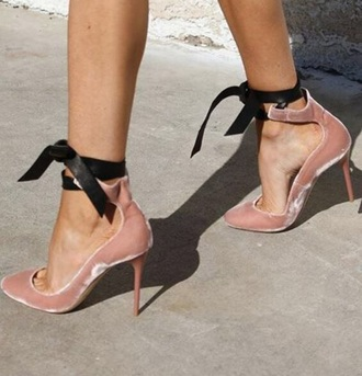 shoes velvet pink black dress cute high heels strappy heels stilettos