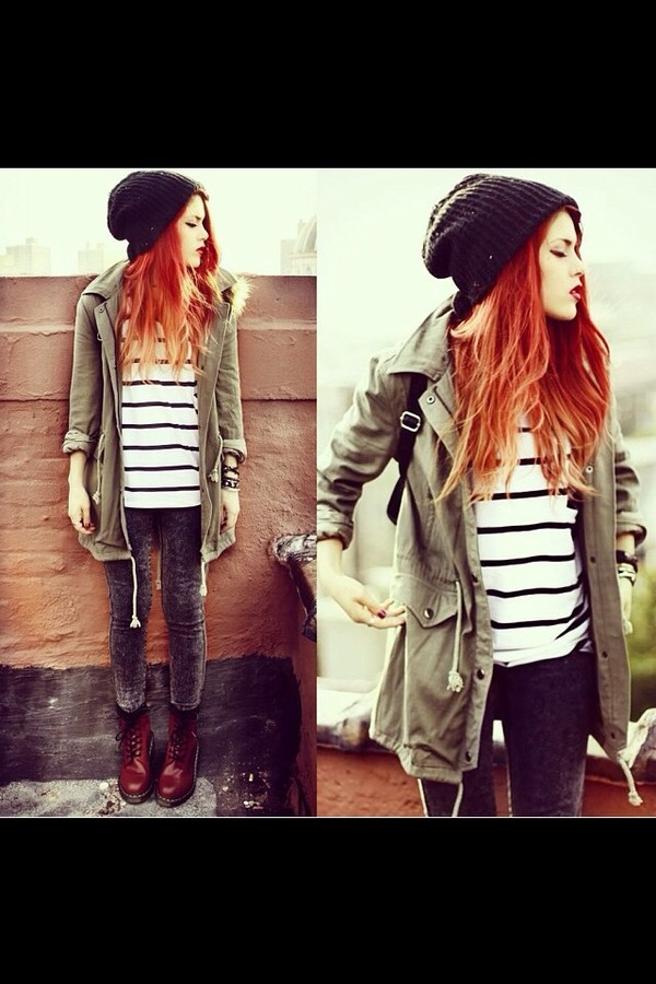jacket beanie shirt striped shirt jeans shoes pants hat