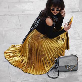 skirt tumblr gold skirt gold metallic pleated pleated skirt metallic pleated skirt midi skirt top black top cut-out shoulder top cut-out cut out shoulder scarf silk scarf bag grey bag sunglasses rayban