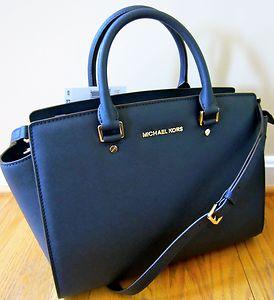 Michael Kors Large Selma Top Zip Satchel Navy Blue Saffiano Leather Tote Bag | eBay