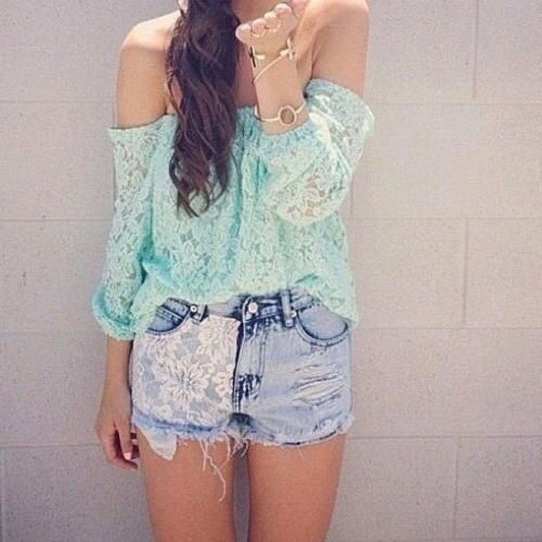 t-shirt light blue blue lace shorts shirt blouse