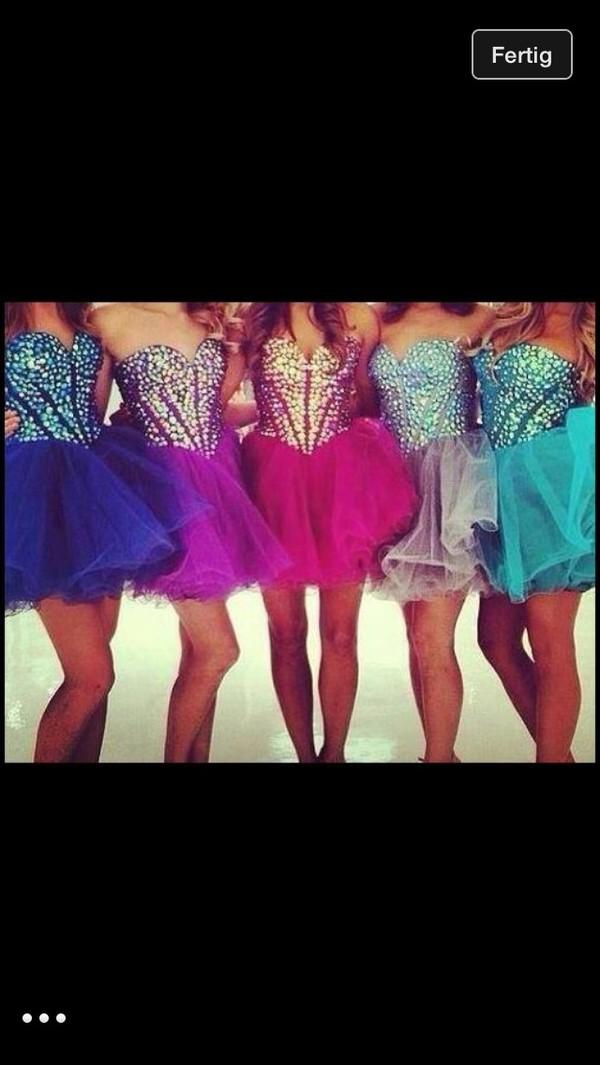 dress prom dress glitter dress pink blue dress purple dress
